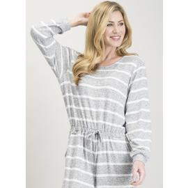 Grey & White Stripe Snit Loungewear Jumpsuit