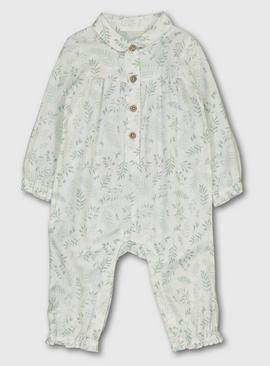 White & Green Leaf Print Romper