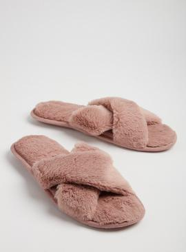 Pink Crossover Faux Fur Open Toe Slippers