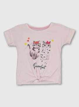 Pink Cat Print Short Sleeve Tie Front T-Shirt