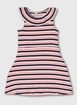 Multicoloured Stripe Skater Dress