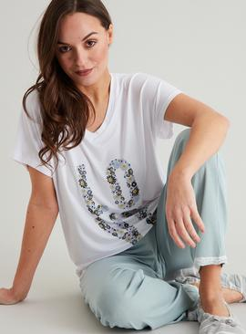 White Floral Love Graphic Pyjama Top