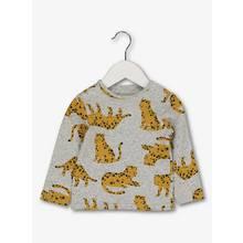 Grey Leopard Detail Long Sleeve T-Shirt