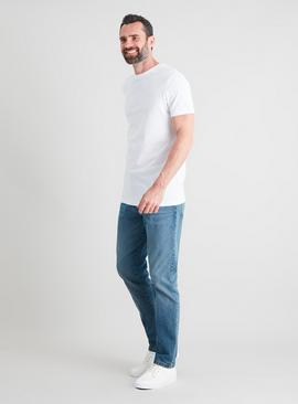 Midwash Denim Tapered Fit Jeans With Stretch