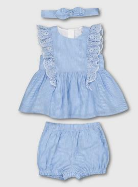 Blue Woven Stripe Blouse With Bloomers & Headband - Newborn