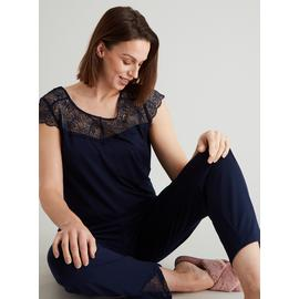 Navy Lace Trim Pyjamas