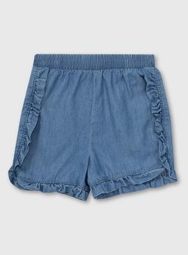 Denim Frill Trim Shorts - Newborn