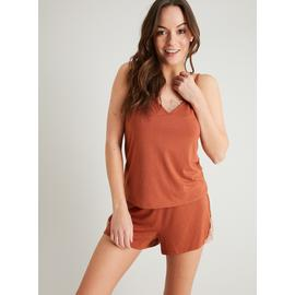 Rich Brown Soft Touch Cami & Pyjama Shorts Set