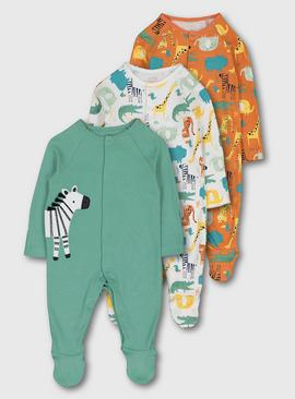 Multi Safari Animal Sleepsuits 3 Pack