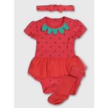 Red Strawberry Tutu Bodysuit, Tights & Headband