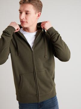 Khaki Zip-Through Long Sleeve Hoodie