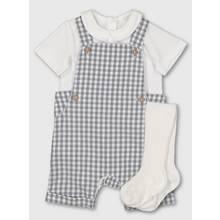 Grey Gingham Bibshorts, Bodysuit & Socks