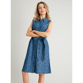 PETITE Blue Denim Chambray Ditsy Floral Shirt Dress
