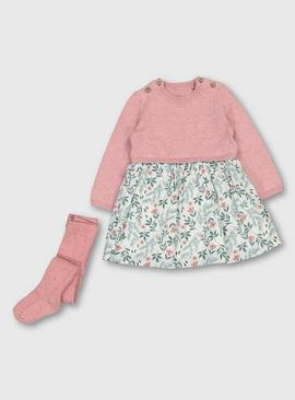 Pink Knitted & Floral Dress With Tights