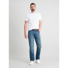 Midwash Denim Belted Straight Leg Jeans With Stretch