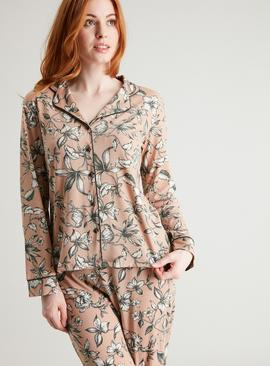 Beige Traditional Style Floral Print Pyjamas