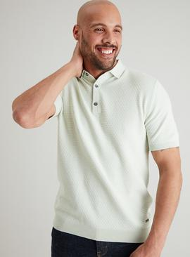 ADMIRAL Pistachio Green Textured Knitted Polo Shirt