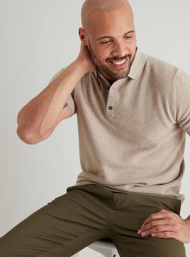 ADMIRAL Stone Textured Knitted Polo Shirt
