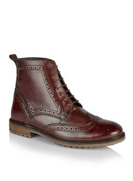 SILVER STREET Burgundy Lace Up Brogue Boots