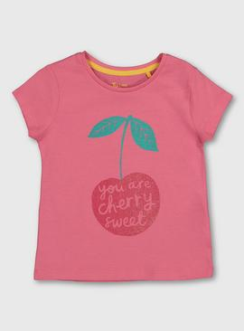 Pink Cherry Graphic Pure Cotton T-Shirt