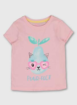 Pink 'Pear-fect' Graphic Cat T-Shirt