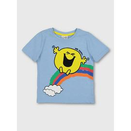Mr. Men Mr. Happy Blue Short Sleeve T-Shirt