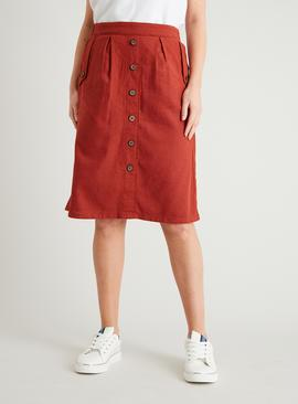 Dark Terracotta Button Detail Skirt With Linen