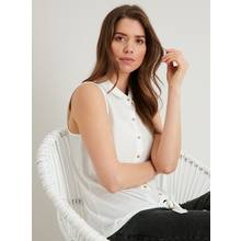 Cream Sleeveless Tie Front Shirt