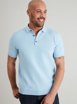 ADMIRAL Pale Blue Textured Knitted Polo Shirt