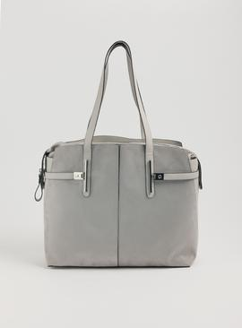 Grey Faux Leather & Mixed Fabric Shoulder Bag - One Size