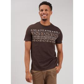 Brown Wakiki Print Crew Neck T-Shirt