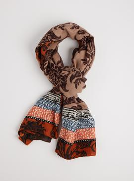 Multicoloured Folk Print Scarf - One Size