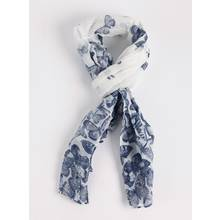 Blue & White Butterfly Print Scarf - One Size