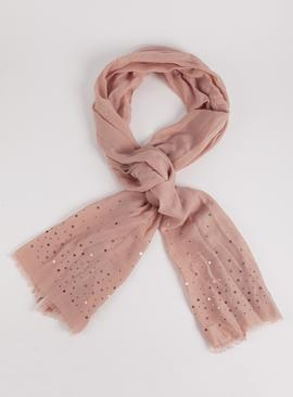 Light Pink Sequin Detail Scarf - One Size
