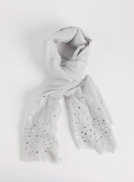 Pale Grey Sequin Detail Scarf - One Size