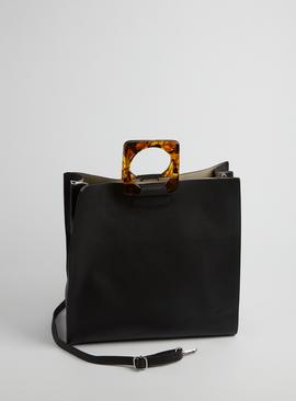 Black Faux Leather Top Handle Tote Shopper - One Size