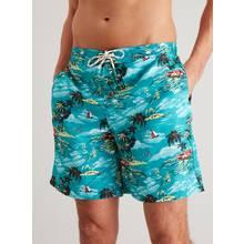 Turquoise Hawaiian Print Recycled Board Shorts