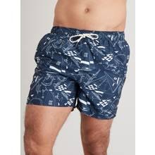Navy Mechanical Yacht Recycled Shortie Swim Shorts