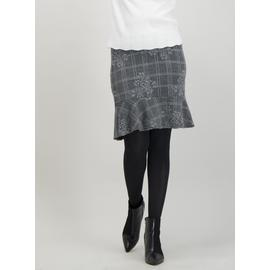 Grey & Black Floral Jacquard Flippy Skirt