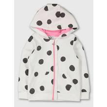 White & Charcoal Spot Zip-Through Hoodie