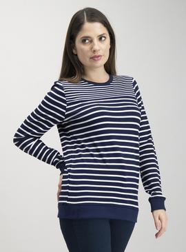 Grey & White Nautical Stripe Long Sleeve Sweatshirt