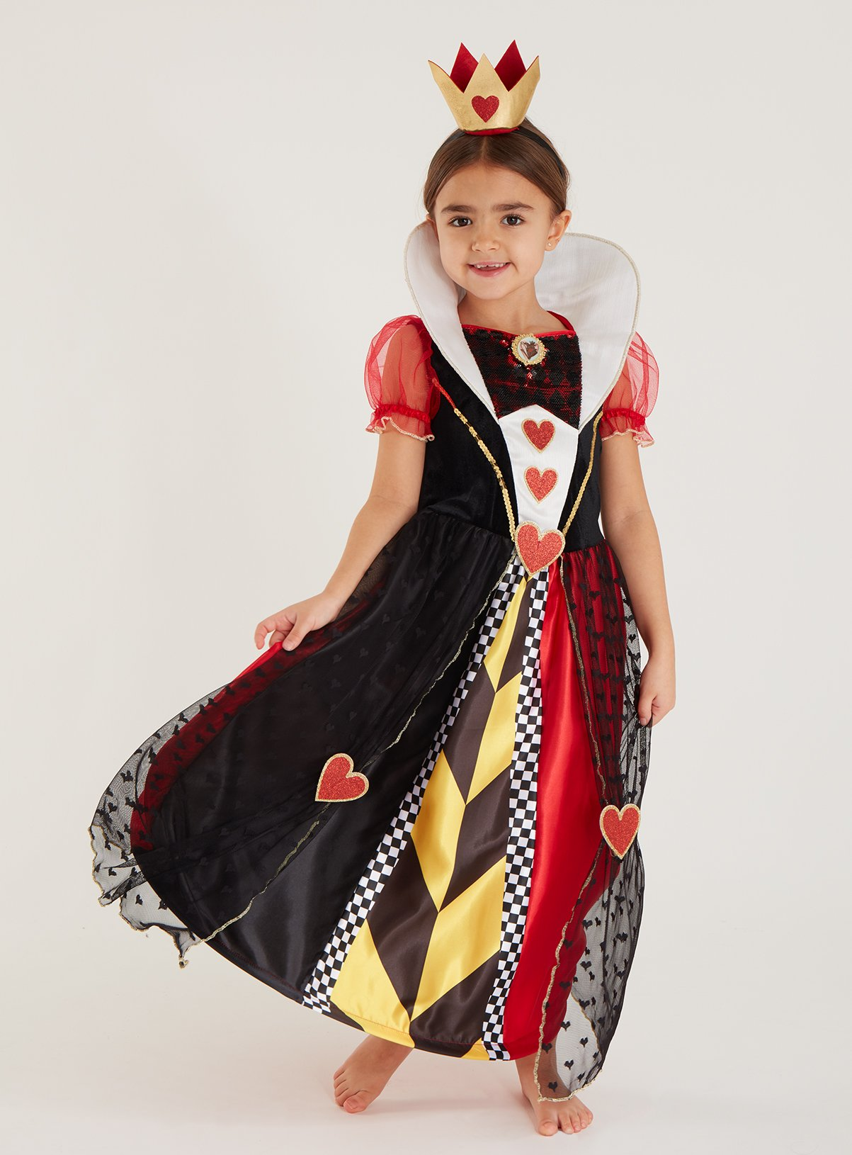 Fancy Dress Costume ~ Queen Of Hearts Costume Ages 3-10 Years