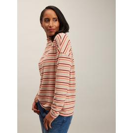 Multicoloured Stripe High Neck Knit Look Top