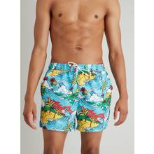 Hawaiian Print Recycled Shortie Swim Shorts