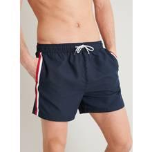 Navy Side Stripe Shortie Recycled Swim Shorts