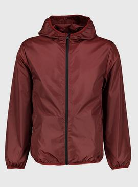 Burgundy Shower Resistant Hooded Mac