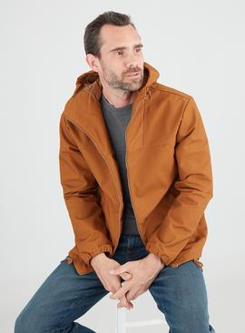 Tobacco Brown Shower Resistant Hooded Jacket