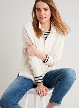 Cream Soft Touch High Neck Half Zip Sweater