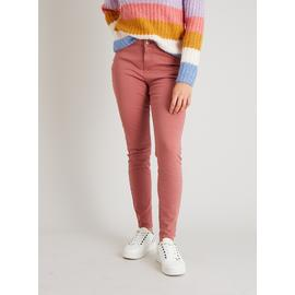 Pink Twill Skinny Jeans With Stretch