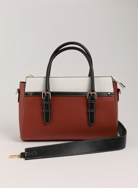 Russet Colour Block Faux Leather Handheld Bag - One Size